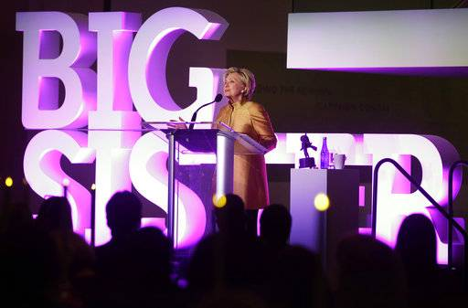Former Secretary of State Hillary Clinton speaks during a fundraising event for Big Sister Association of Greater Boston, Tuesday, Dec. 5, 2017, in Boston. Clinton was presented with the organization's Believe in Girls award during the event.
