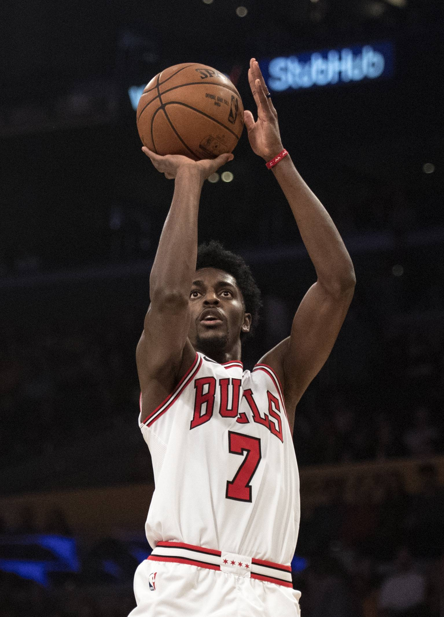 Chicago Bulls guard Justin Holiday during the first half of an NBA basketball game Tuesday, Nov. 21, 2017, in Los Angeles.