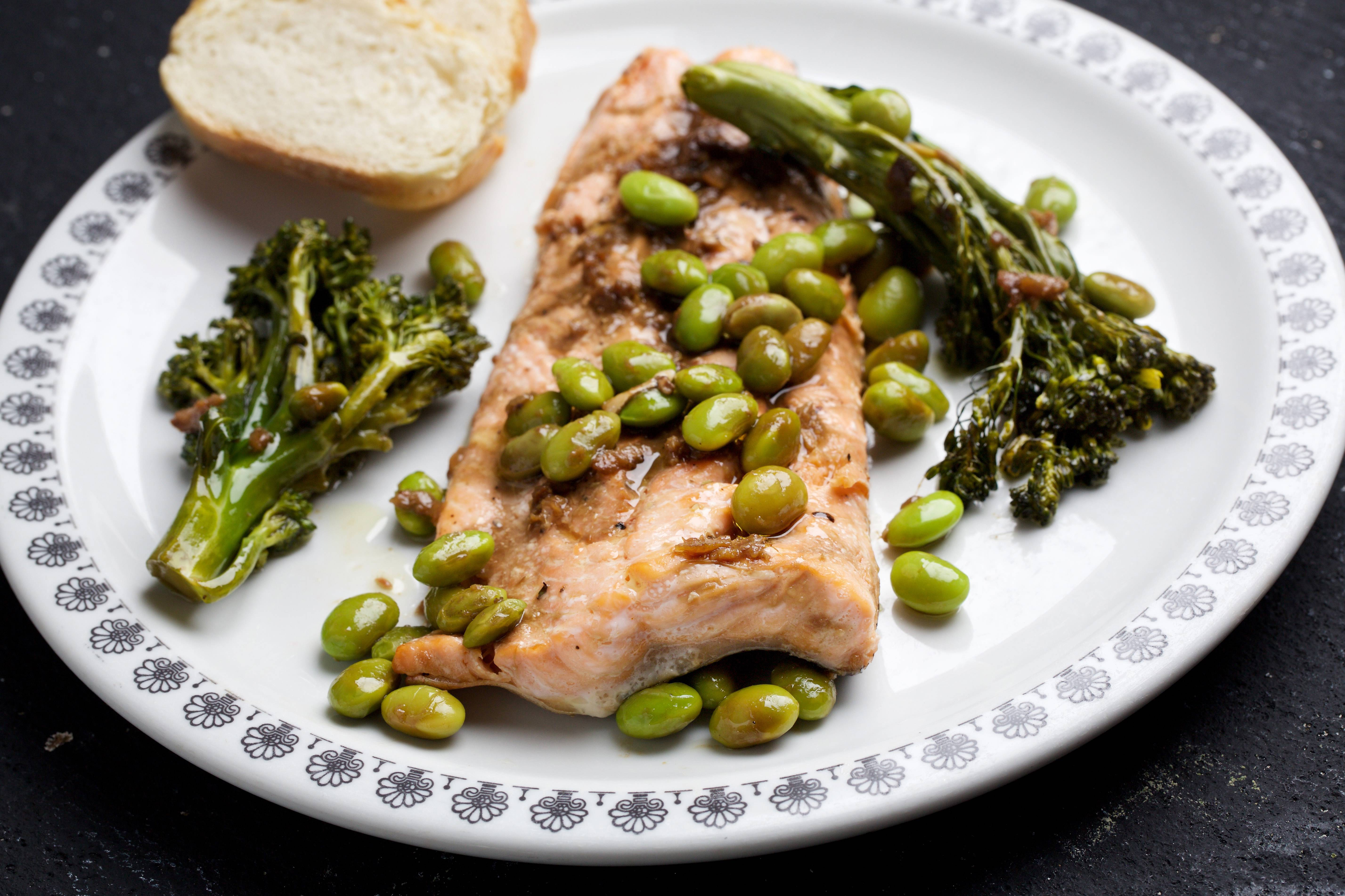 Arctic Char, Broccolini and Edamame With Soy-Ginger Sauce