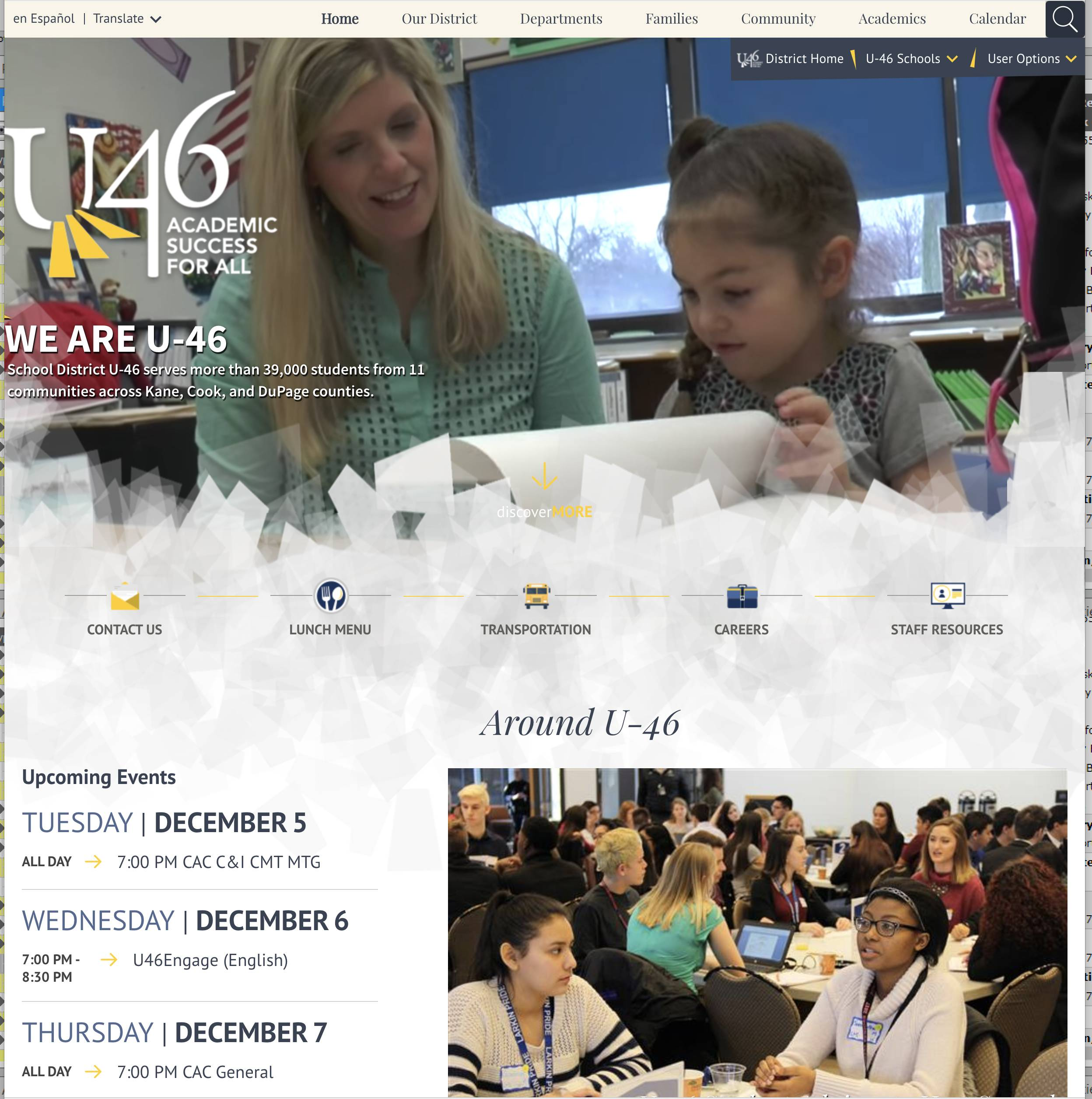 Elgin Area School District U-46 has launched a new website at u-46.org.
