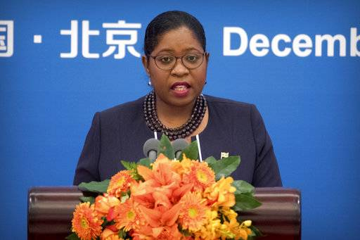 Suriname Minister for Foreign Affairs Yldiz Pollack-Beighle speaks during the South-South Human Rights Forum at the Great Hall of the People in Beijing, Thursday, Dec. 7, 2017. China opened the human rights forum attended by developing countries Thursday in its energetic drive to showcase what it considers the strengths of its authoritarian political system under President Xi Jinping.