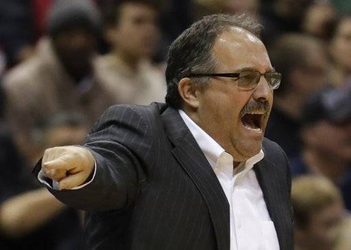 Detroit Pistons head coach Stan Van Gundy reacts during the first half of an NBA basketball game against the Milwaukee Bucks Wednesday, Dec. 6, 2017, in Milwaukee.