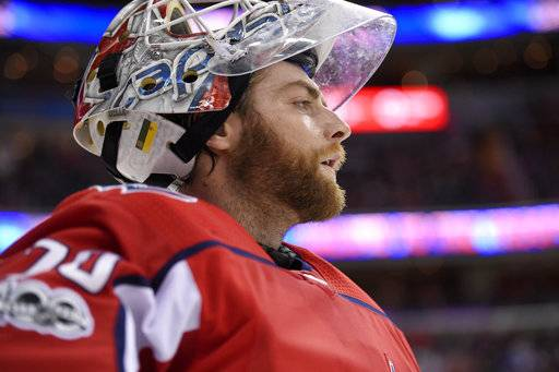 Washington Capitals goalie Braden Holtby looks on during a break in the action in the second period of an NHL hockey game against the Chicago Blackhawks, Wednesday, Dec. 6, 2017, in Washington.