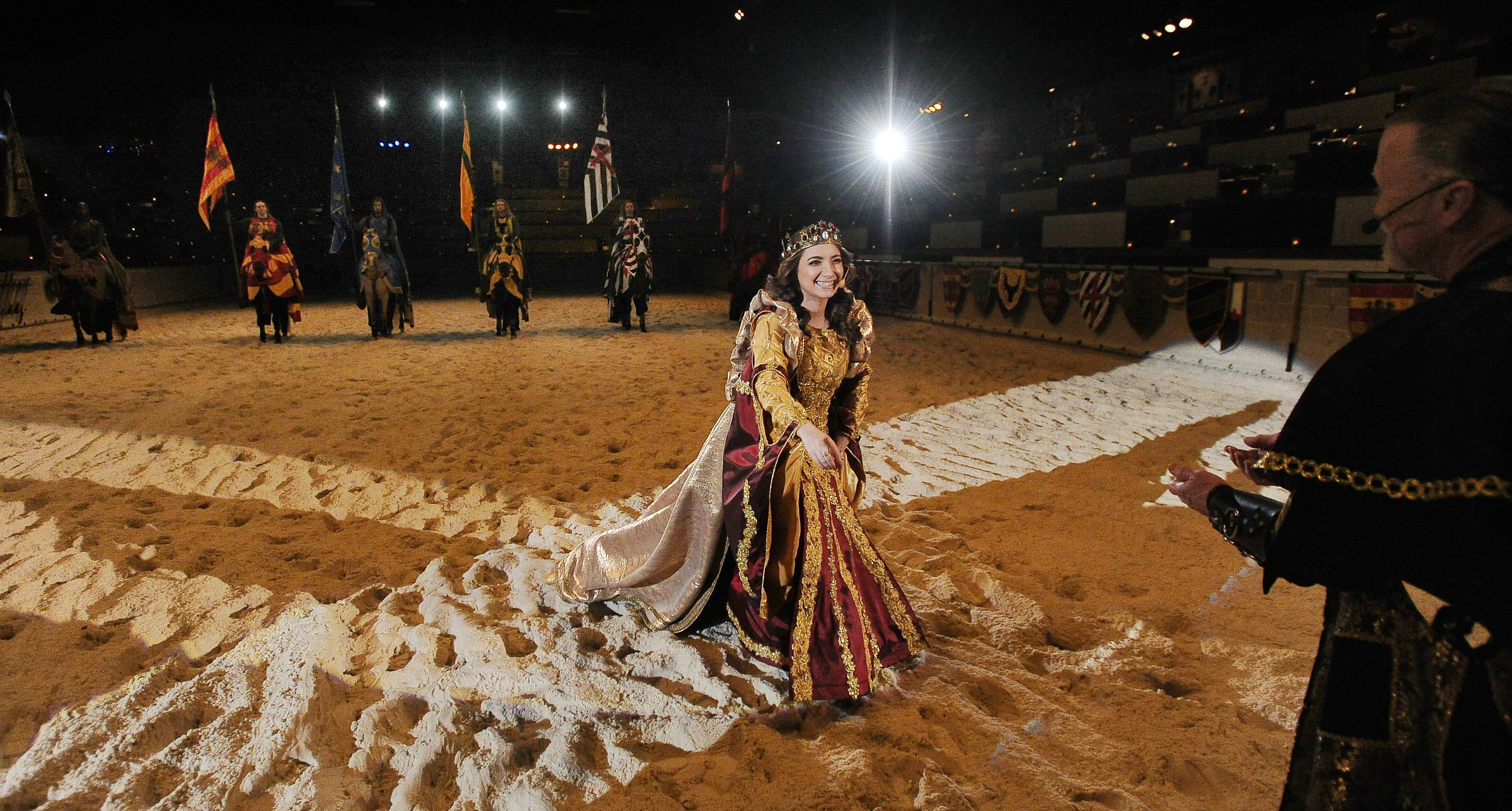 Sara Schubring rehearses for her new role as the queen at Medieval Times in Schaumburg.