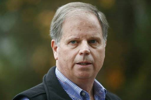 FILE- In this Dec. 4, 2017 file photo, Democratic senatorial candidate Doug Jones speaks at a news conference, in Dolomite, Ala. In Alabama's special Senate election, underdog  Jones and his fellow Democrats are intent on not sinking his upset bid against Republican Roy Moore.