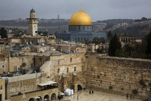 A view of the Western Wall and the Dome of the Rock, some of the holiest sites for for Jews and Muslims, is seen in Jerusalem's Old City, Wednesday, Dec. 6, 2017. U.S. officials say President Donald Trump will recognize Jerusalem as Israel's capital Wednesday, Dec. 6, and instruct the State Department to begin the multi-year process of moving the American embassy from Tel Aviv to the holy city. His decision could have deep repercussions across the region.