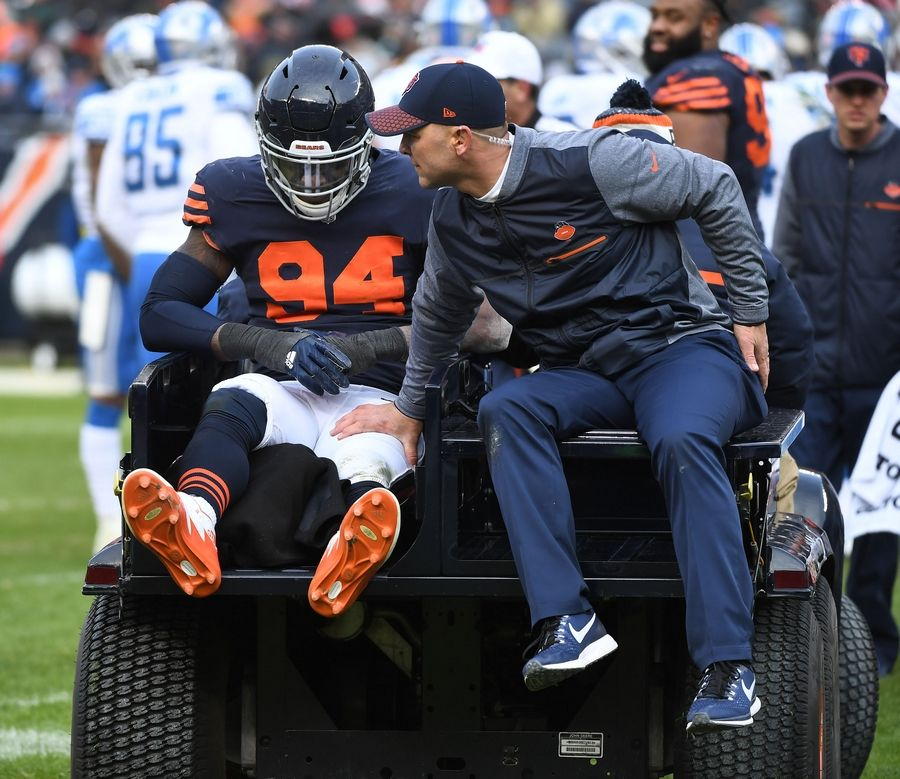 John Starks/jstarks@dailyherald.comChicago Bears outside linebacker Leonard Floyd is taken from the field after a leg injury in the fourth quarter against the Detroit Lions Sunday at Soldier Field in Chicago.