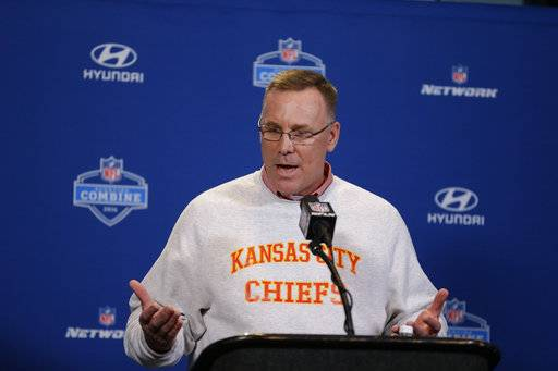 FILE - In this Feb. 25, 2016, file photo, Kansas City Chiefs general manager John Dorsey speaks during a news conference at the NFL football scouting combine in Indianapolis. The Cleveland Browns have hired former Kansas City general manager Dorsey as their new GM.