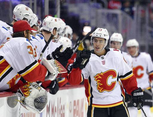 FILE - In this Nov. 20, 2017, file photo ,Calgary Flames left wing Johnny Gaudreau (13) celebrates his goal during the first period of an NHL hockey game against the Washington Capitals in Washington. Through the first two months of the season, goals are up more than 12 percent from the same time a year ago, including a 14 percent increase on the power play and a 38 percent spike short-handed.
