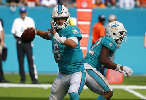 In this Dec. 3, 2017, file photo, Miami Dolphins quarterback Jay Cutler (6) looks to pass during the first half of an NFL football game against the Denver Broncos in Miami Gardens, Fla. New England plays at Miami on Monday night, Dec. 11.