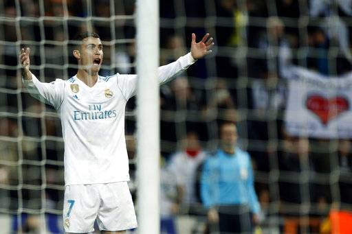 Real Madrid's Cristiano Ronaldo gestures during the Champions League Group H soccer match between Real Madrid and Borussia Dortmund at the Santiago Bernabeu stadium in Madrid, Spain, Wednesday, Dec. 6, 2017.