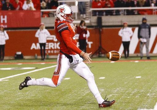 FILE - In this Nov. 11, 2017, photo, Utah's Mitch Wishnowsky punts in the second half during an NCAA college football game against Washington State, in Salt Lake City. Wishnowsky was selected to the AP All-Conference Pac-12 team announced Thursday, Dec. 7, 2017.