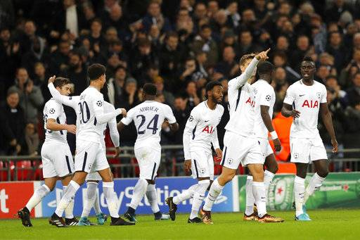 Tottenham's players celebrated a goal against APOEL during the Champions League Group H soccer match between Tottenham and APOEL Nicosia in London, Wednesday, Dec. 6, 2017.