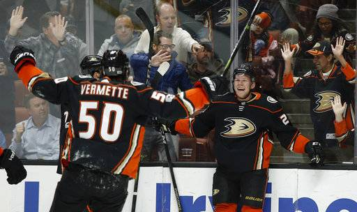 Anaheim Ducks right wing Ondrej Kase, right, of Czech Republic, celebrates his goal with center Antoine Vermette (50) during the second period of an NHL hockey game against the Ottawa Senators in Anaheim, Calif., Wednesday, Dec. 6, 2017.