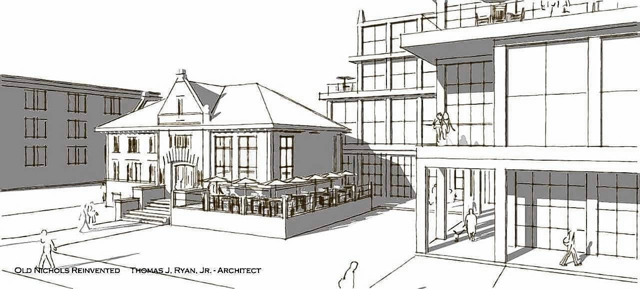Naperville architect Tom Ryan designed this concept of a potential reuse for the old Nichols Library building, which would include renovating it into a restaurant and specialty market, then building a tiered mixed-use center in an