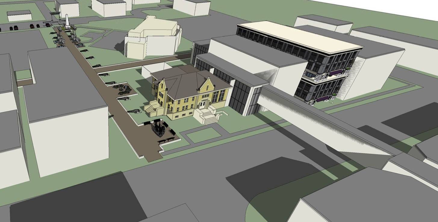 Naperville architect Anthony Yeboah's first idea for the old Nichols Library site is to turn the building into a visitors' center, renovate Central Park and add a four-story office and bank building, a 6-story apartment building, underground parking and a skybridge to cross Washington Street.