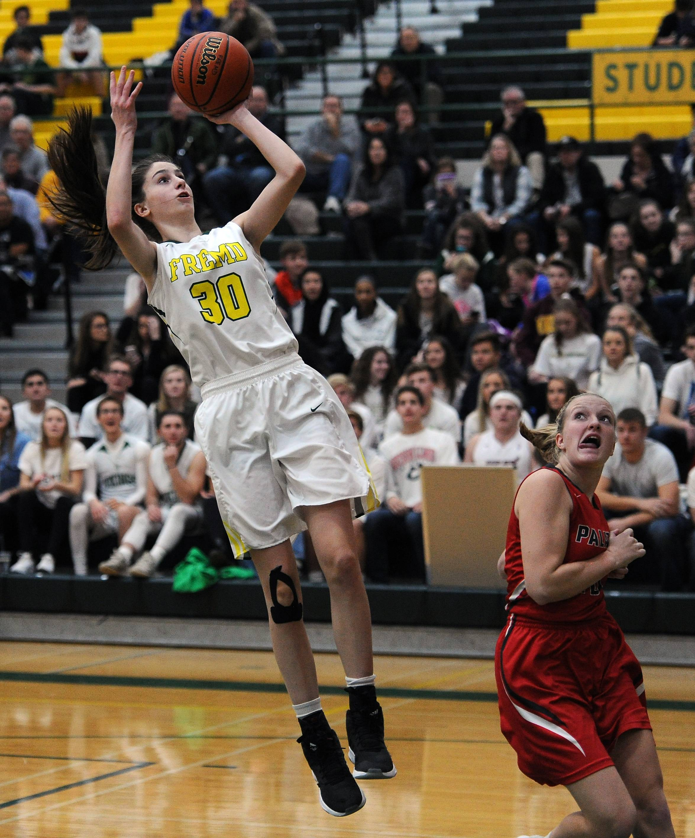 Fremd's Grace Labarge delivers a bucket against visiting Palatine on Friday.