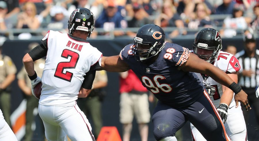 Bears defensive end Akiem Hicks sacks Atlanta Falcons quarterback Matt Ryan during the loss to the Falcons in Septmeber. The Bears haven't had a defensive player in the Pro Bowl since cornerback Tim Jennings went after the 2013 season, but defensive lineman Hicks should get consideration this year.