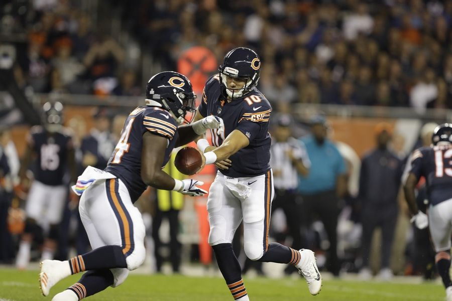 Bears quarterback Mitch Trubisky hands off to running back Jordan Howard during the October loss to the Vikings. The Bears have 11 players who could form the foundation of a successful rebuilding project including Howard and Trubisky.