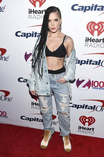 Halsey attends Z100's iHeartRadio Jingle Ball at Madison Square Garden on Friday, Dec. 8, 2017, in New York. (Photo by Charles Sykes/Invision/AP)