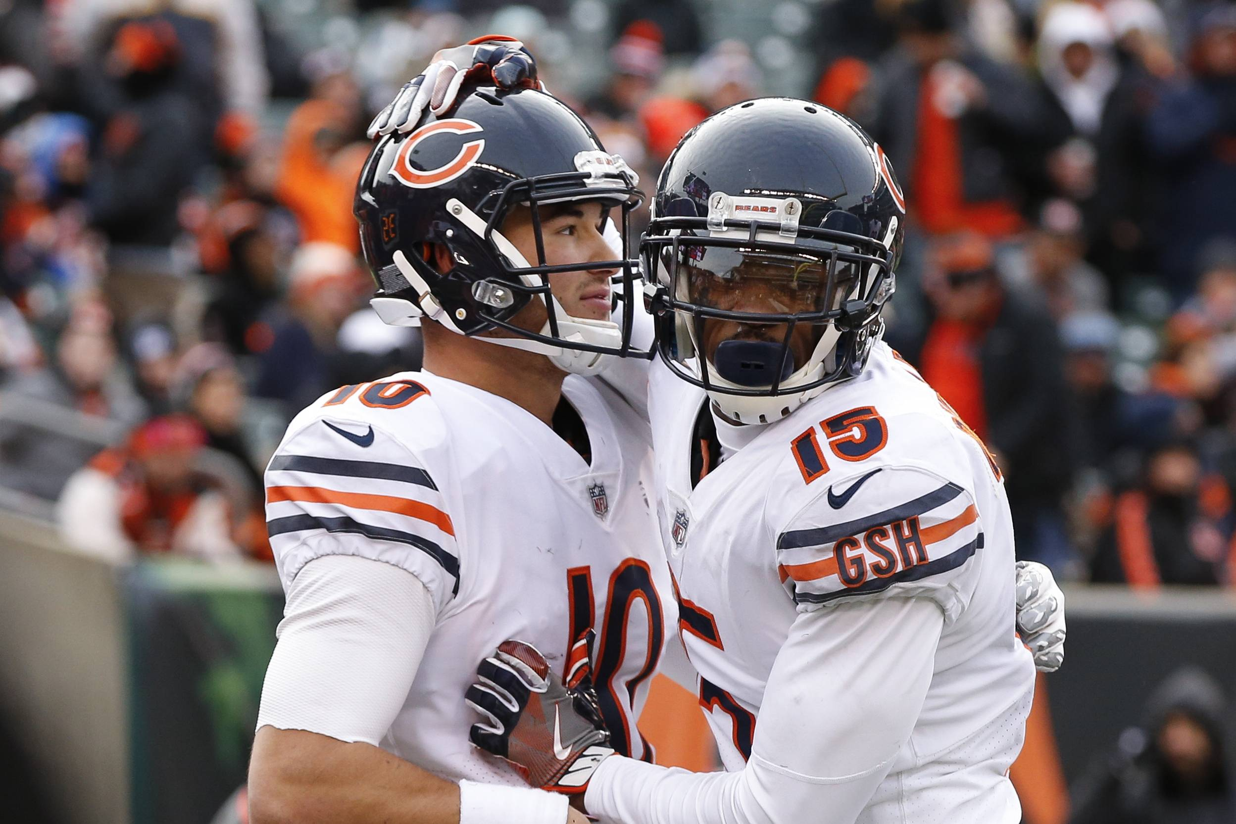 Chicago Bears quarterback Mitchell Trubisky, left, celebrates his touchdown with wide receiver Josh Bellamy (15) in the second half of an NFL football game against the Cincinnati Bengals, Sunday, Dec. 10, 2017, in Cincinnati.