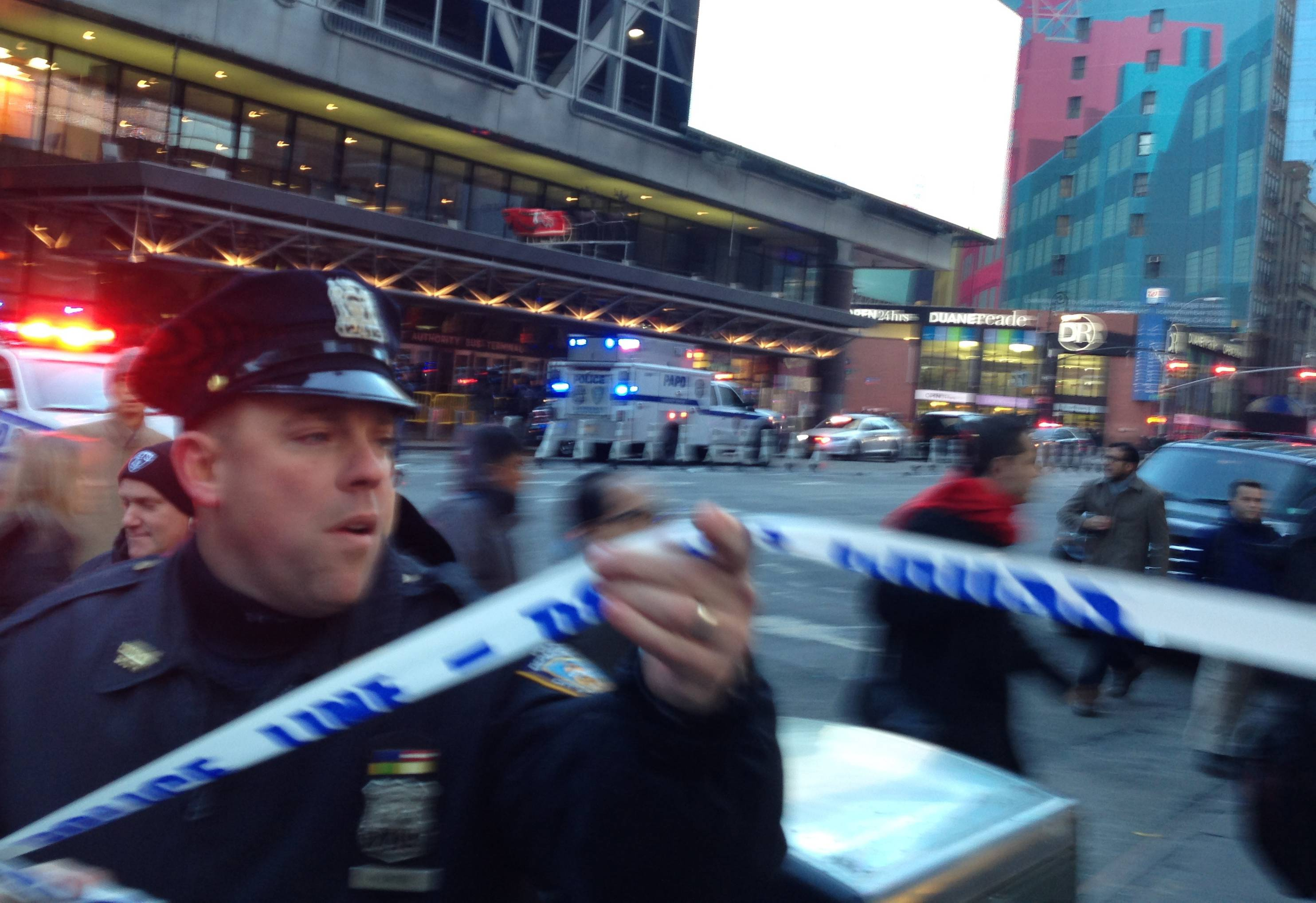 Police respond to a report of an explosion Monday near Times Square in New York.