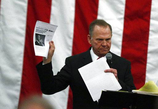 U.S. Senate candidate Roy Moore holds up pages with a news story about himself as he speaks at a campaign rally, Monday, Dec. 11, 2017, in Midland City, Ala.