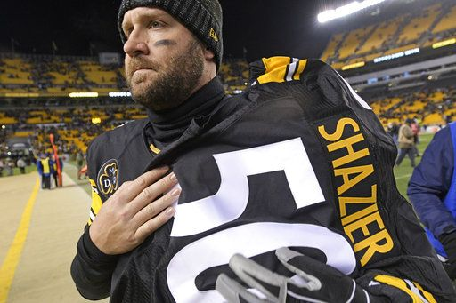 9ef0b3f29090 Pittsburgh Steelers quarterback Ben Roethlisberger (7) walks off the field  holding the jersey of