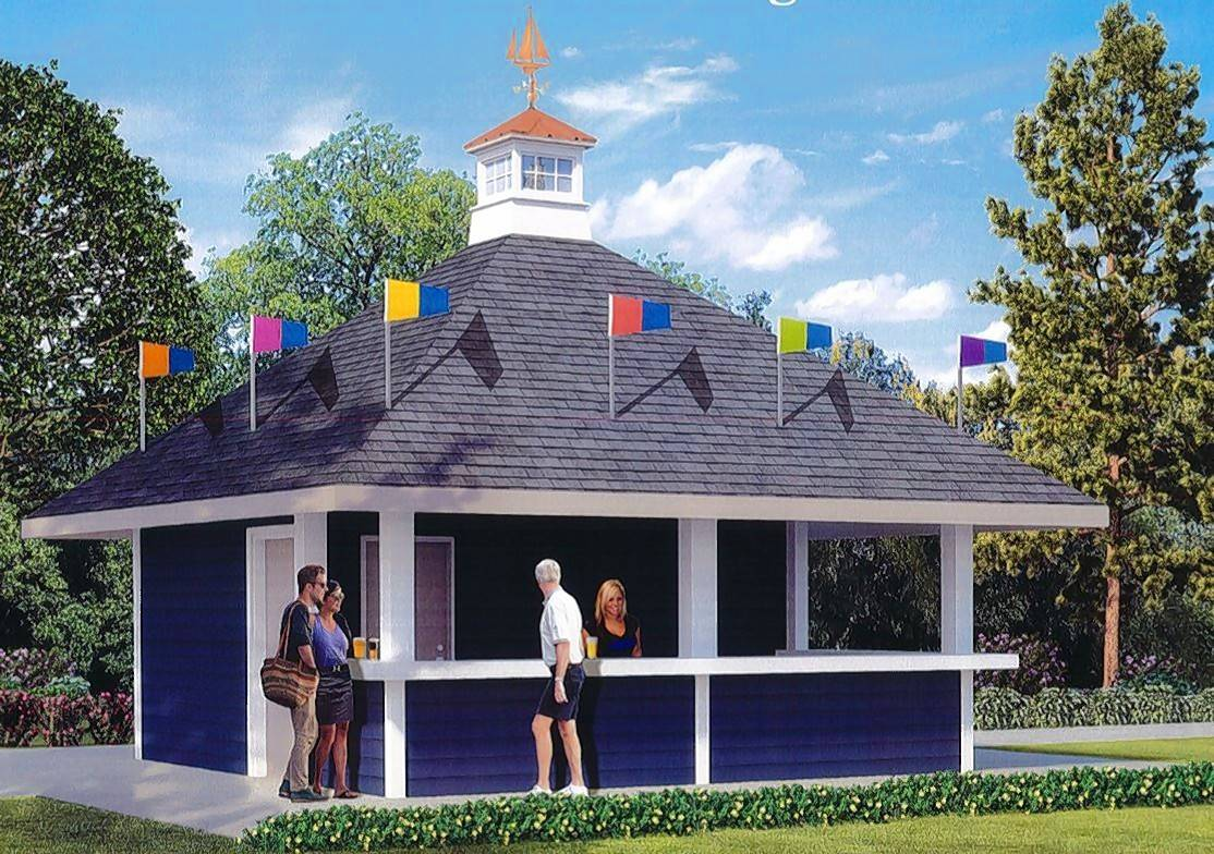 This rendering created by the village of Lake Zurich shows the beverage pavilion being built for a new beer garden at Breezewald Park.