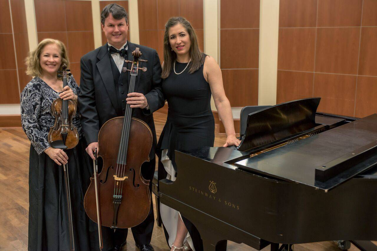 Sheridan Solisti Trio consists of three extremely talented musicians: violinist Michaela Paetsch, cellist Steven Sigurdson, and pianist Susan Merdinger. Courtesy of Chicago Music Guide