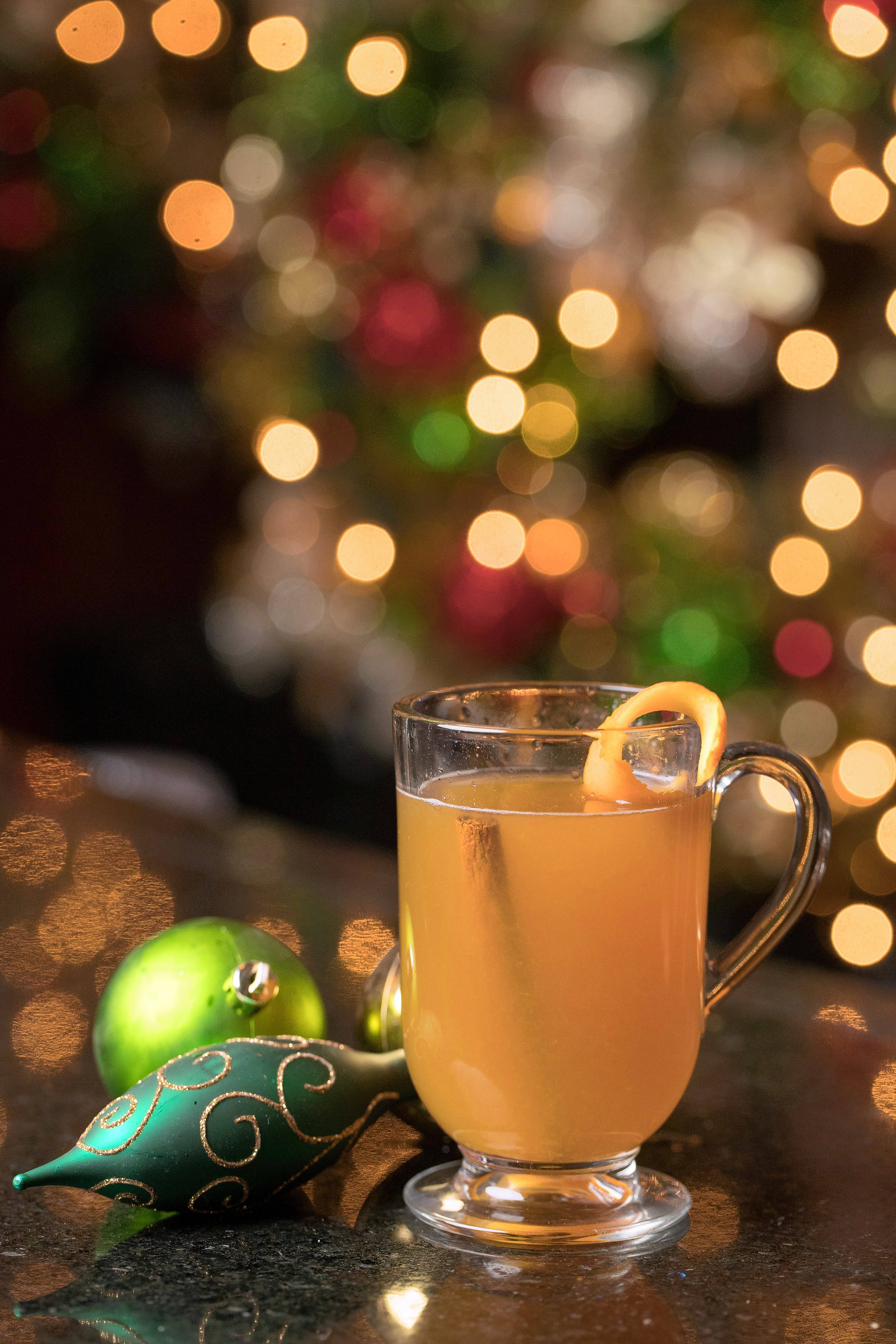 Gene & Georgetti's Spiced Hot Cider is a mix of Captain Morgan Spiced Rum and Chef's Hot Cider that comes garnished with an orange peel.
