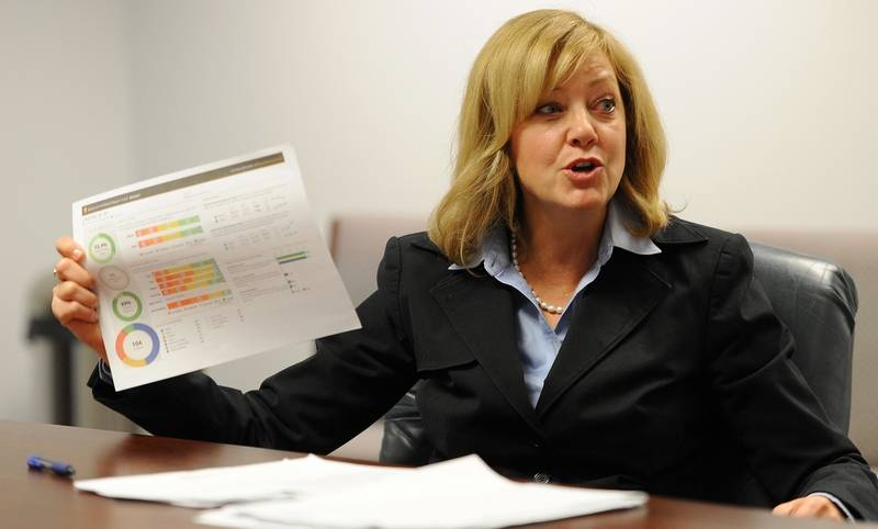 """Republican candidate for governor Jeanne Ives of Wheaton says she believes in consolidating school districts. """"Florida's got one school district per county,"""" she said. """"In Illinois, we've got 852 (districts in 102 counties)."""""""