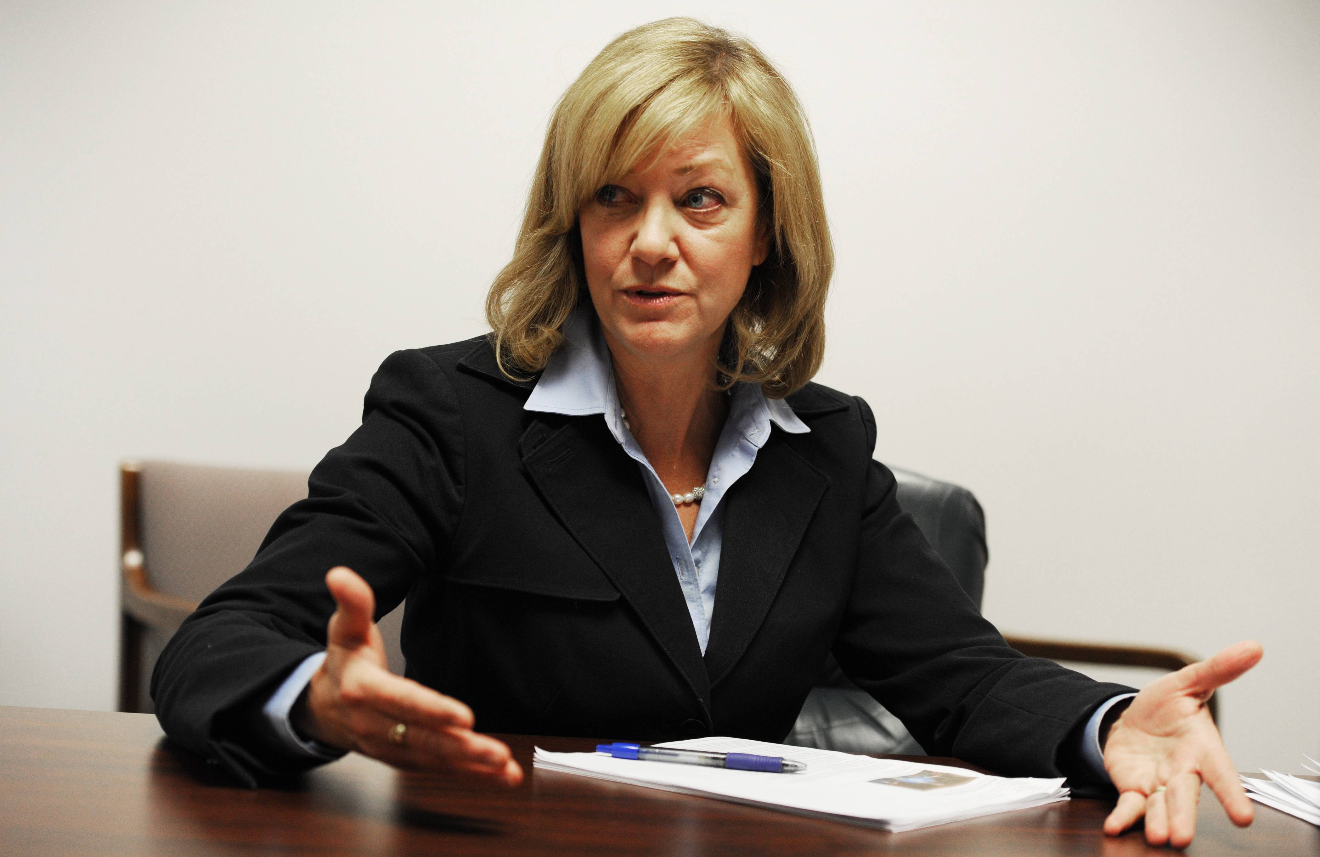 "Jeanne Ives, while saying she believes in consolidating school districts, says that's not the case with all districts. ""Elgin (Area Unit District 46) and Chicago (Public Schools) are too big, actually. They need to be downsized,"" she said."