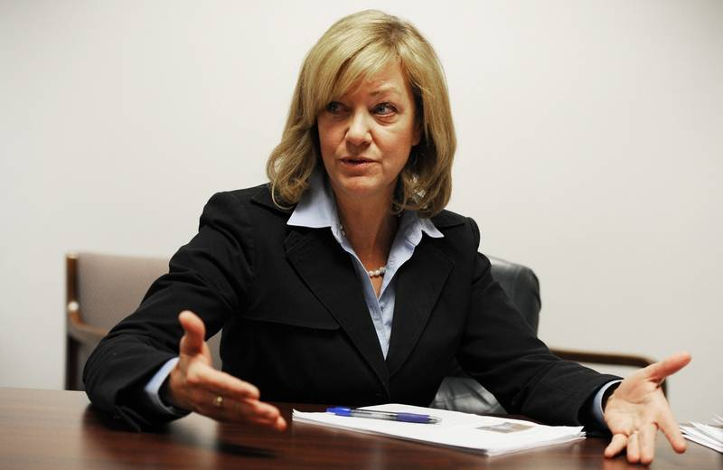 """Jeanne Ives, while saying she believes in consolidating school districts, says that's not the case with all districts. """"Elgin (Area Unit District 46) and Chicago (Public Schools) are too big, actually. They need to be downsized,"""" she said."""