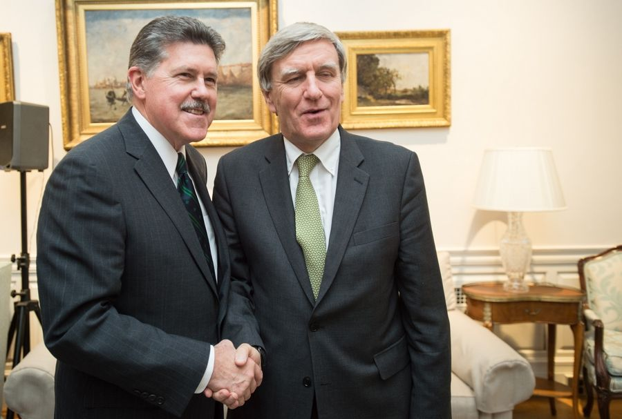 Corboy & Demetrio Lawyer Francis Patrick Murphy, on left, with Irish Ambassador Dan Mulhall at the Ambassador's residence in Washington, D.C.