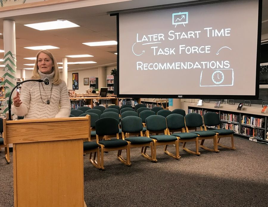 Rita Fischer, the assistant superintendent for curriculum and instruction in Libertyville-Vernon Hills Area High School District 128, talks to the school board Monday about a task force's recommendation to delay daily start times.