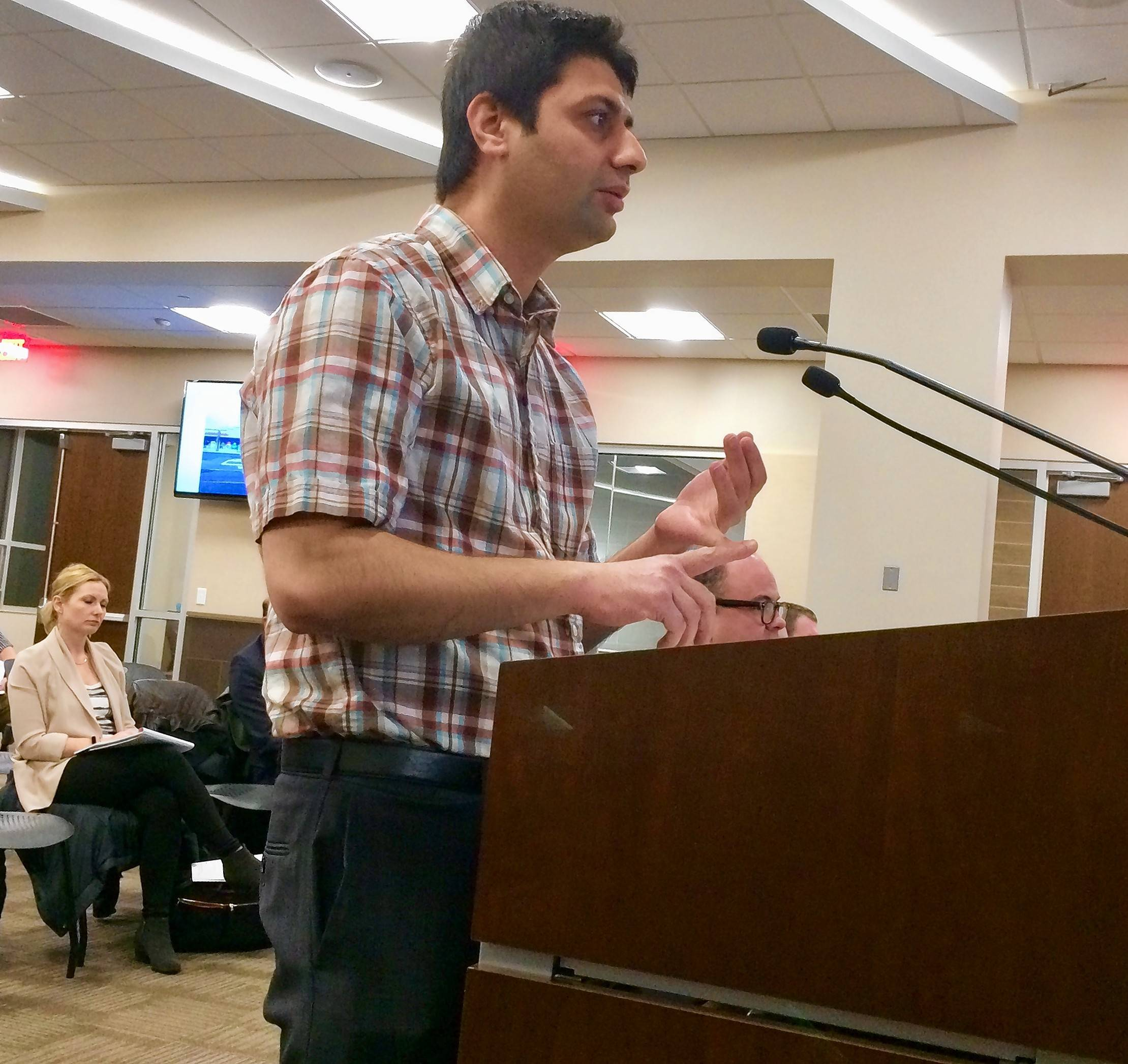 Dr. Sourabh Dhawan makes an unsuccessful pitch to the Palatine village council this week for a proposal to open an animal hospital at Northwest Highway and Quentin Road.
