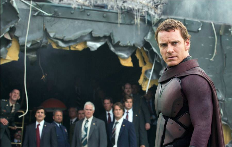 "Michael Fassbender as Magneto, in Fox's ""X-Men: Days of Future Past,"" has a few new Disney suits to answer to."