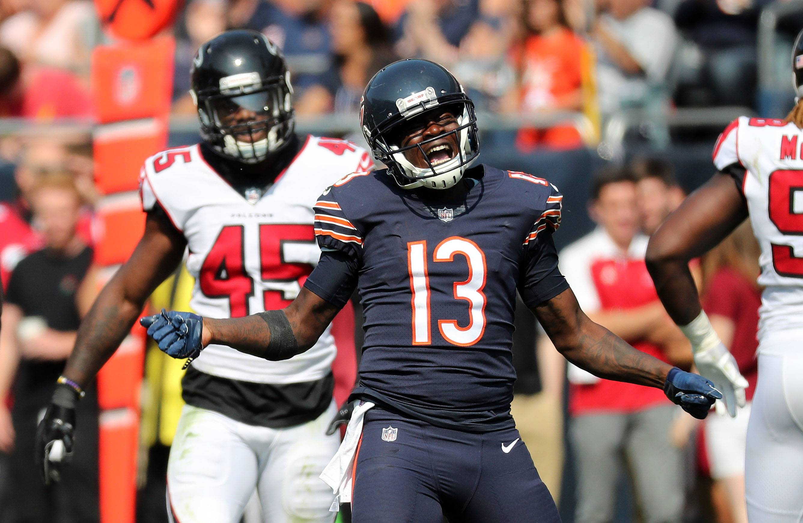 Chicago Bears wide receiver Kendall Wright celebrates after a catch during a game earlier this season at Soldier Field.