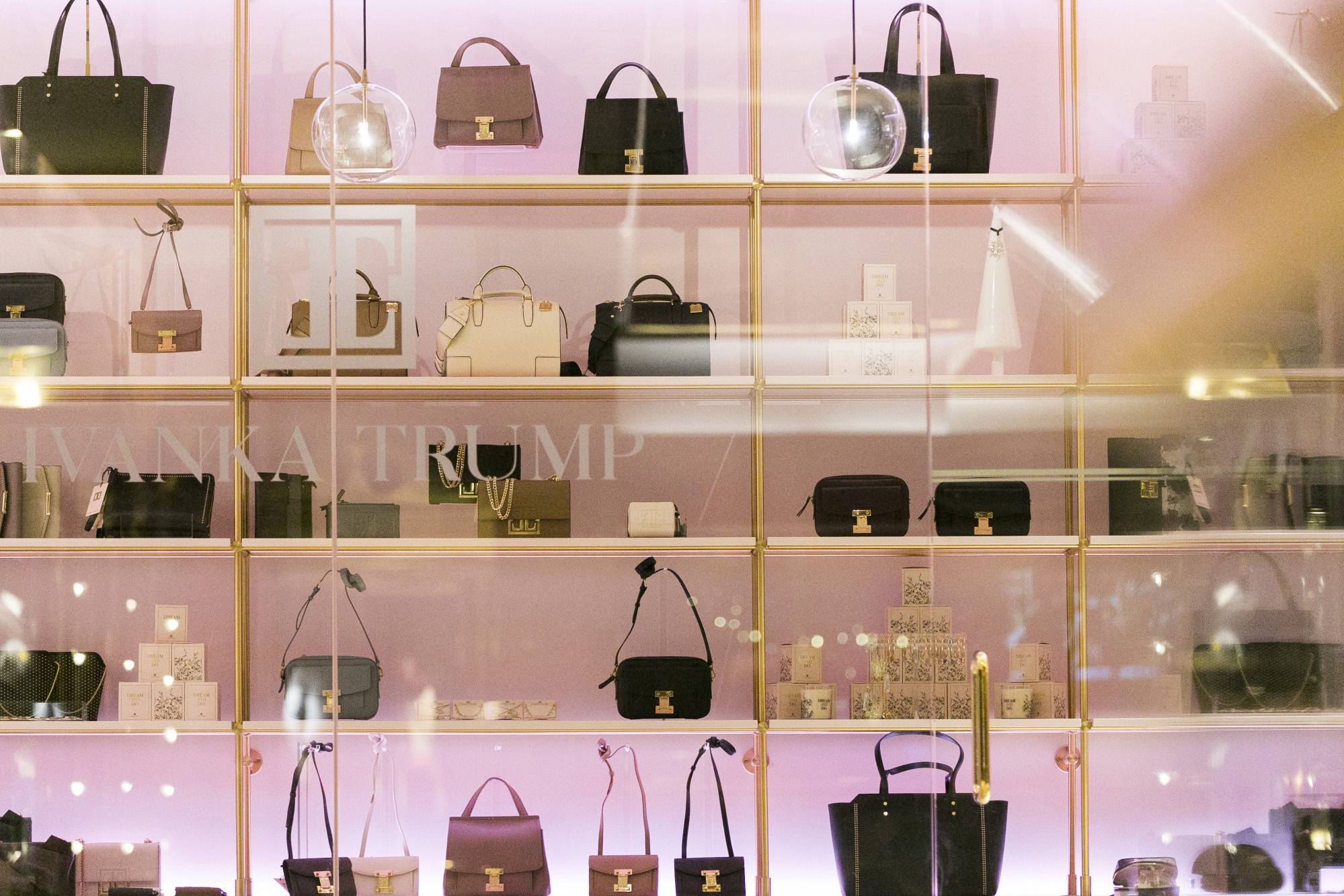 Handbags sit on display inside an Ivanka Trump brand store at Trump Tower in New York on Dec. 14, 2017.