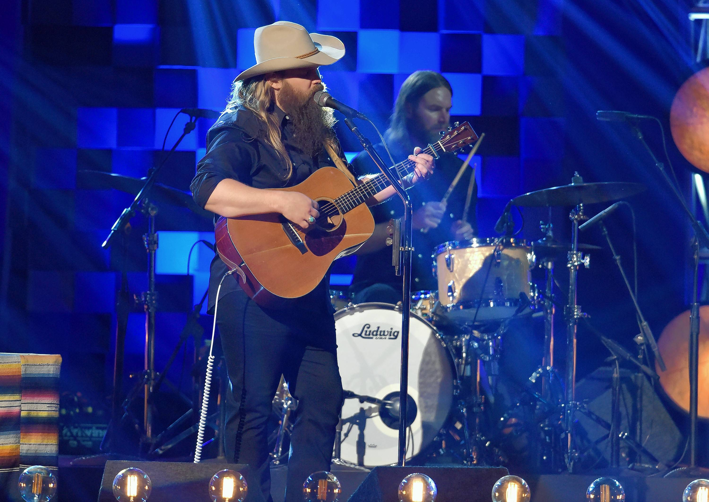 "Chris Stapleton performs ""Broken Halos"" at the 51st annual CMA Awards last month in Nashville. The song is up for a Grammy."