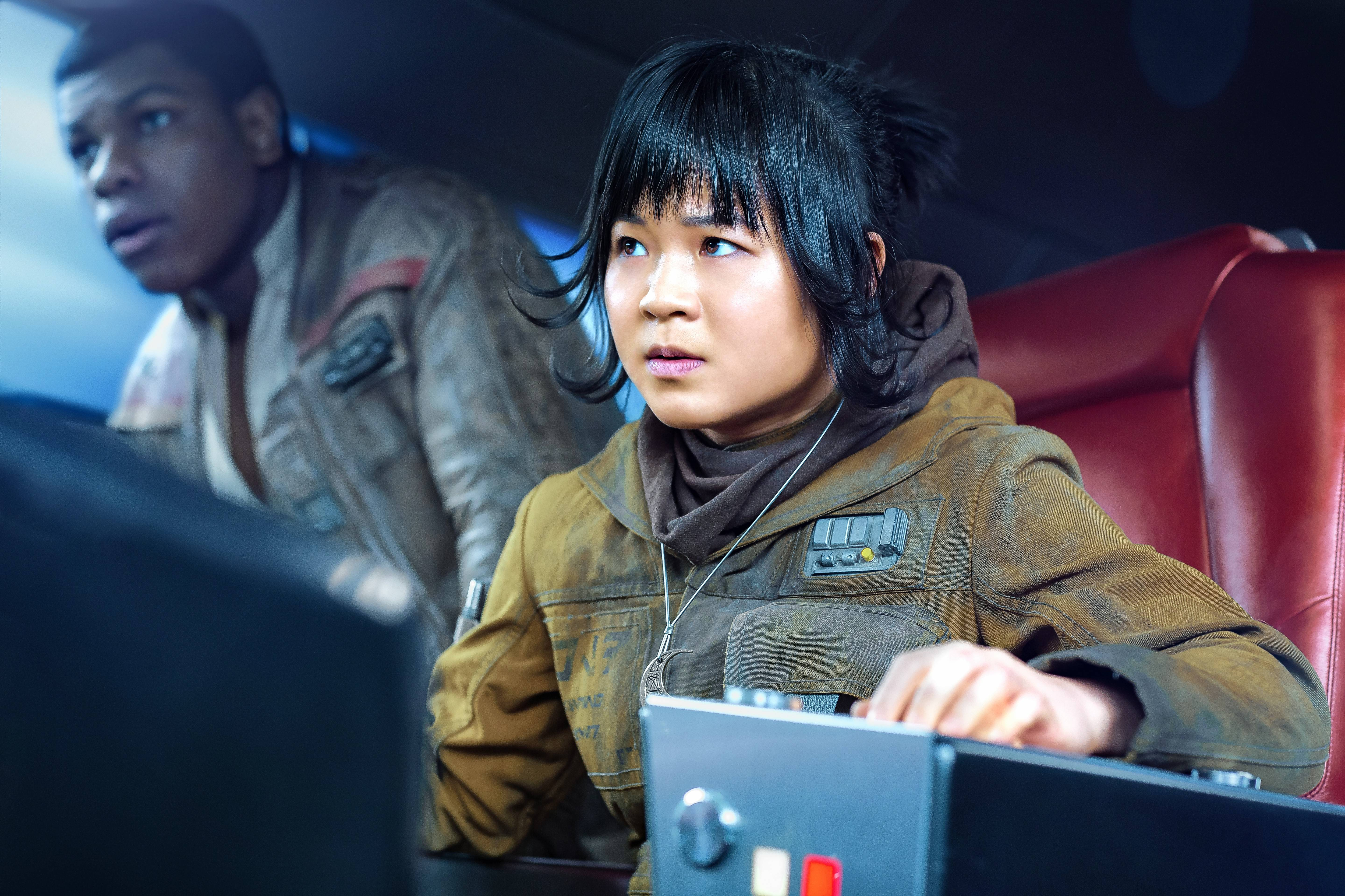 "Rose (Kelly Marie Tran) has no problem standing up to Finn (John Boyega) in ""Star Wars: The Last Jedi."""