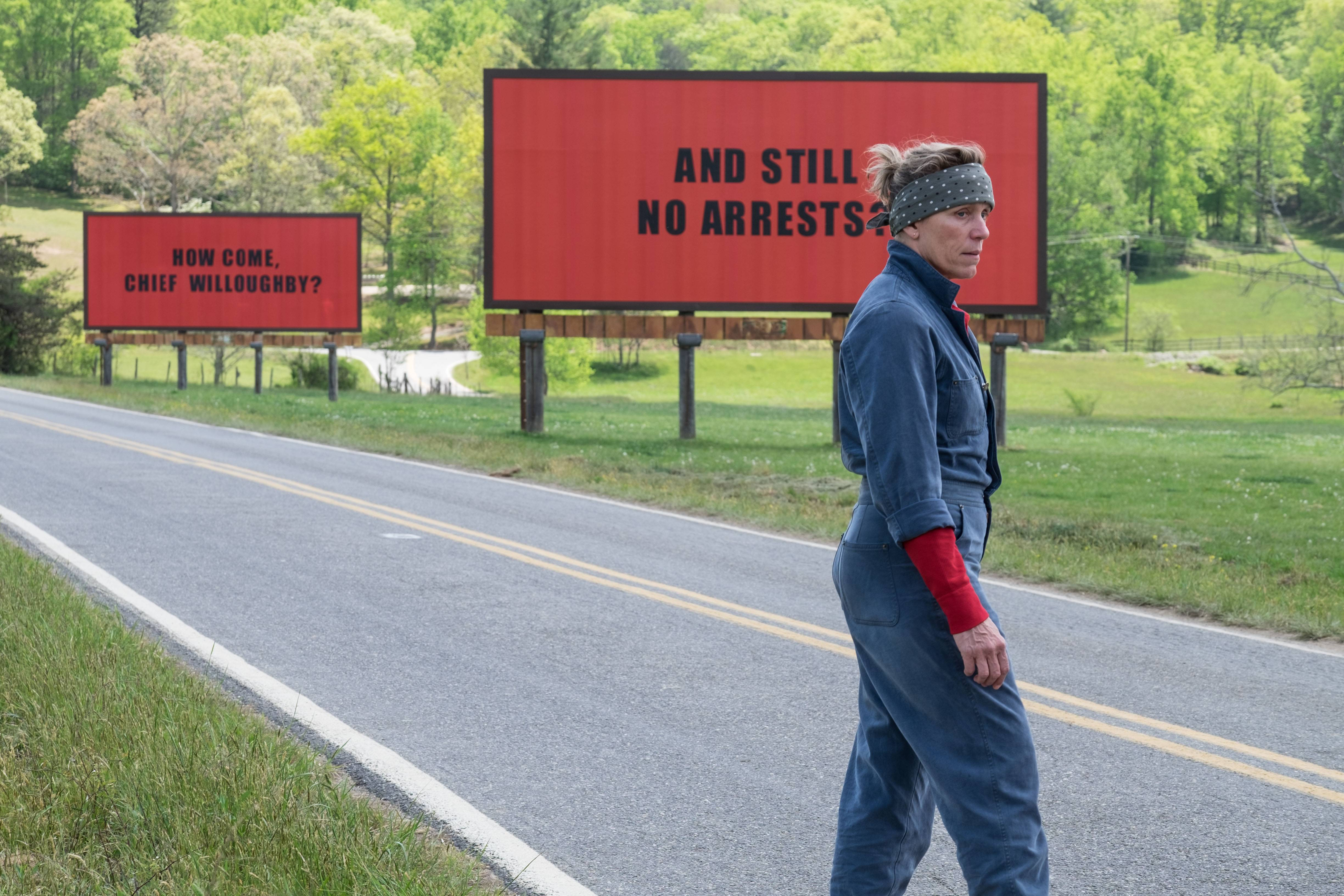 "Frances McDormand is a grieving mother with a vendetta against the local sheriff in ""Three Billboards Outside Ebbing, Missouri."""
