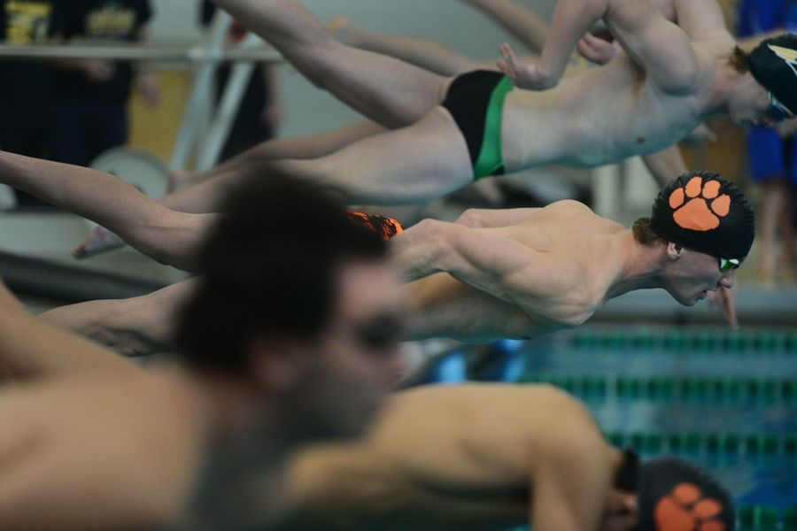 Libertyville's Billy Bennett leaves the starting block in the 50-yard freestyle during the Lake County Invitational at Stevenson on Saturday.
