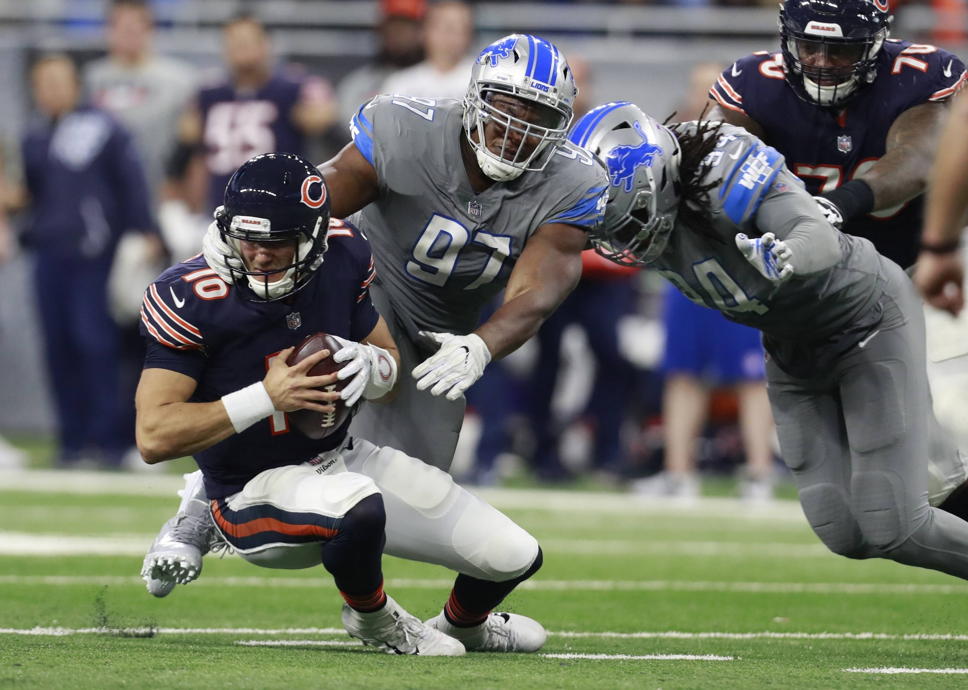 The Bears' loss to the Lions did not represent a step forward in rookie quarterback Mitch Trubisky's development. After throwing just 4 interceptions in his first nine starts, the second overall pick in the draft was picked off twice by the Lions, who improved to 8-6, while dropping the Bears to 4-10.