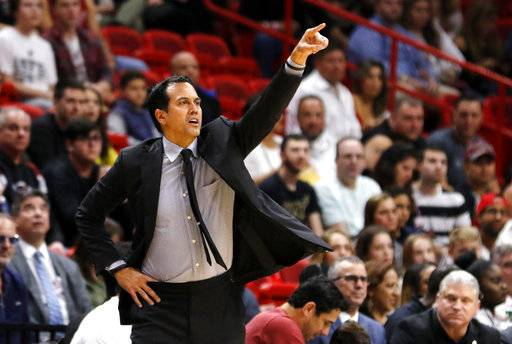 Miami Heat head coach Erik Spoelstra directs his team during the second quarter of play against the Los Angeles Clippers in an NBA basketball game, Saturday, Dec. 16, 2017, in Miami. (AP Photo/Joe Skipper)