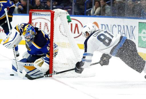 Winnipeg Jets' Kyle Connor (81) is unable to score past St. Louis Blues goalie Carter Hutton, left, during the third period of an NHL hockey game Saturday, Dec. 16, 2017, in St. Louis. (AP Photo/Jeff Roberson)