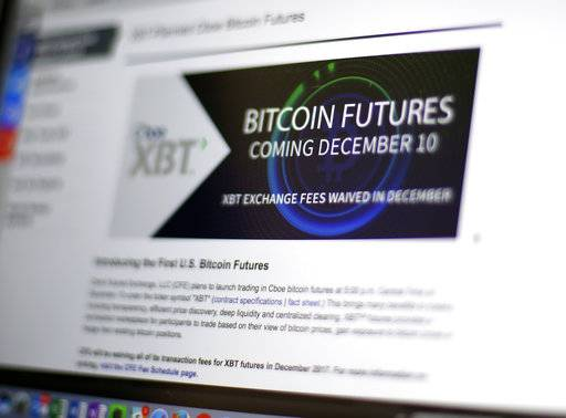 FILE - This Dec. 8, 2017, file photo shows the Chicago Board Options Exchange website announcing that bitcoin futures will start trading on the Cboe on Sunday evening Dec. 10. The CME Group, another security based on the price of bitcoin, the digital currency that has soared in value and volatility this year, began trading on the Chicago Mercantile Exchange on Sunday, Dec. 17.