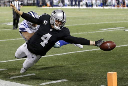 Oakland Raiders quarterback Derek Carr (4) fumbles the ball into the end zone in front of Dallas Cowboys strong safety Jeff Heath (38) during the second half of an NFL football game in Oakland, Calif., Sunday, Dec. 17, 2017. The play was ruled a touchback and the Cowboys got possession. The Cowboys won 20-17.