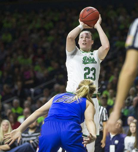 Notre Dame's Jessica Shepard (23) shoots over DePaul's Kelly Campbell (20) during the first half of an NCAA college basketball game Sunday, Dec. 17, 2017, in South Bend, Ind.